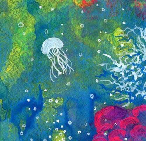浮遊するクラゲ